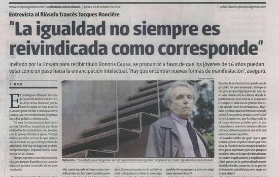 Tiempo Argentino entrevista al filósofo francés Jacques Rancière