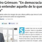 Alejandro Grimson en La Nación