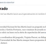 Entrevista a Virginia Pieroni sobre el posgrado en Gestión Portuaria, en La Nación