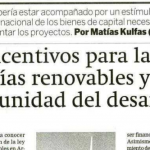 Columna de Matías Kulfas sobre energías renovables en El Economista