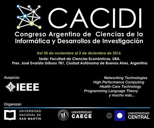 Se observa la imagen del logo de CACIDI. Con las fechas y el ugar de sede, cito en la faclultad de ciencias economicas de la UBA.