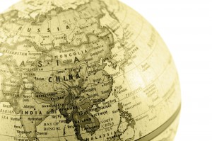 Asia-China-Globe sepia