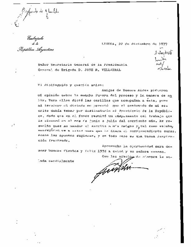 Carta de Ghioldi a Villarreal