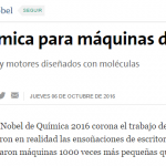 <i>La Nación</i> consultó a Galo Soler Illia sobre el premio Nobel de Química 2016