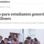 Nota en <i>Clarín</i> sobre el turismo para estudiantes extranjeros
