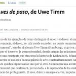 Reseña de <i>Aves de paso</i>, de Uwe Timm, en <i>La Nación</i>