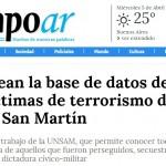 Nota en <i>Tiempo Argentino</i> sobre la creación de la Base de Datos de Desaparecidos de San Martín