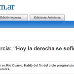 El periódico <i>Puntal</i> de Río Cuarto cubrió una conferencia de Marco Aurelio García