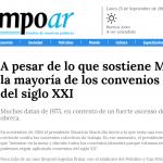 <i>Tiempo Argentino</i> citó un informe del CETyD sobre los convenios colectivos de trabajo