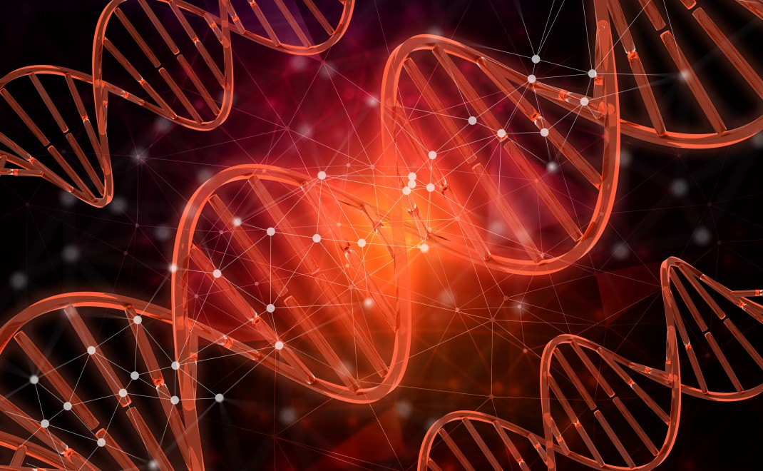 3D medical background with DNA strands, connecting lines and dot