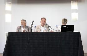 Alberto Pochettino, Jorge Fernández Niello y Silvana Mondino