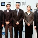 De izq. a der: Jorge Taiana, Gabriel Katopodis, Alvaro García Linera, Leonor Arauco y Carlos Ruta.