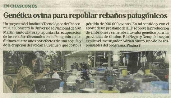 El Centro de Biotecnología Ovina IIB-INTECH en La Nación