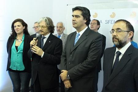 Lucrecia Cardoso, directora del INCAA; Carlos Ruta, Jorge Capitanich y Alejandro Villar