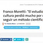 Entrevista a Franco Moretti, en La Nación