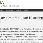 Nota de la Agencia CyTA sobre un nuevo desarrollo científico del IIB