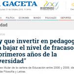 Cobertura de una conferencia de Juan Carlos Tedesco en <i>La Gaceta</i> de Tucumán