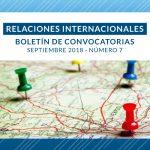 Boletín de Convocatorias Internacionales: Septiembre 2018